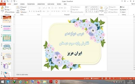 پاورپوینت درس 12 نگارش پایه سوم دبستان ایران عزیز