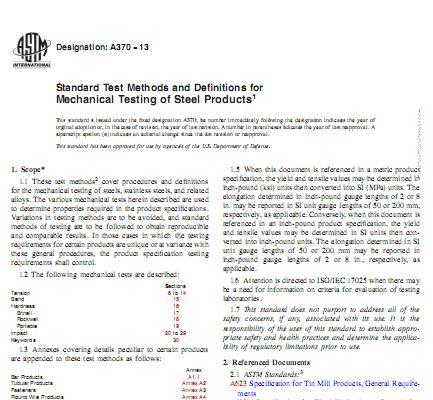 استاندارد ASTM A370 نسخه 2013 در خصوص روش های استاندارد تست های مکانیکی محصولات فولادی