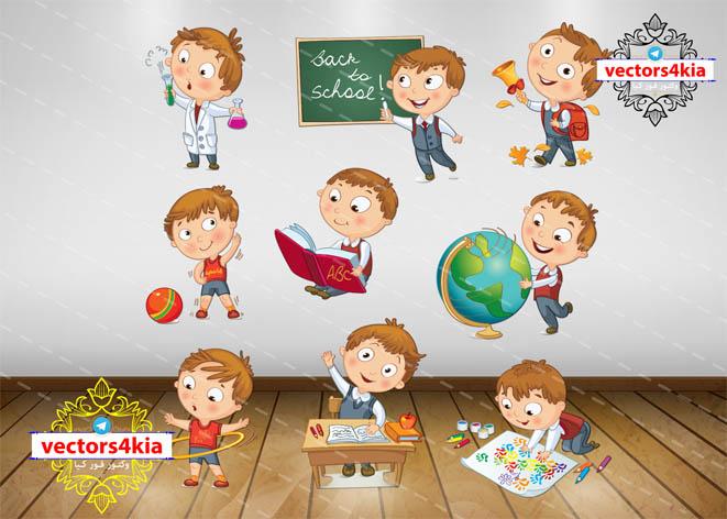 وکتور کودک در مدرسه-با فرمت هایAi-EPS-PNG-PSD