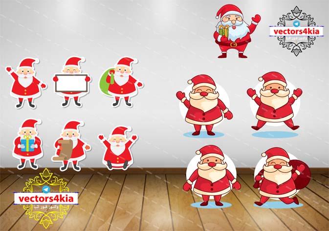 وکتور بابا نوئل(1)Santa-با فرمت های Ai-EPS-PNG-PSD