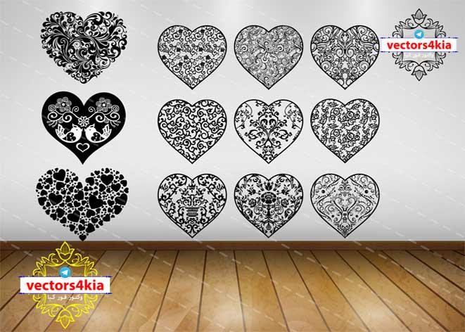 وکتور قلب تزئینی-با فرمت های Ai-EPS-PNG-PSD