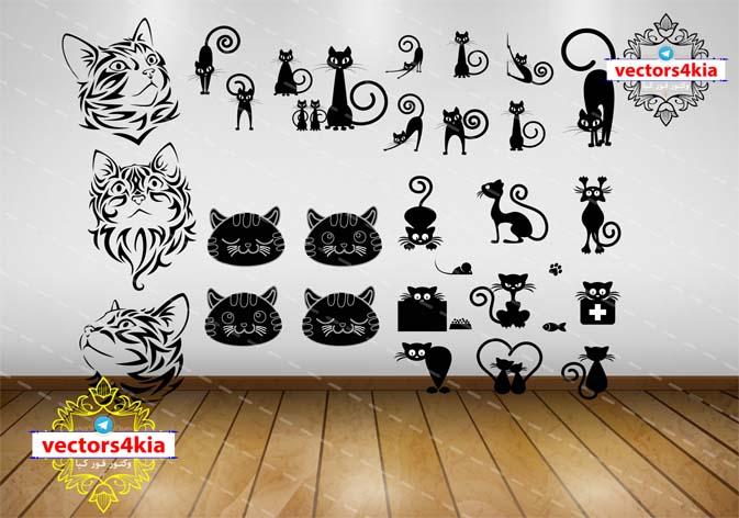 وکتور استیکر گربه سیاه و سفید(3)-با فرمت های Ai-EPS-PNG-PSD