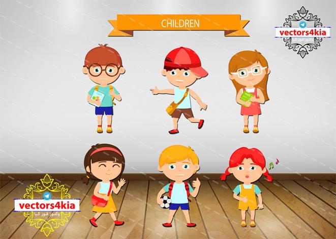 وکتور مجموعه کودک(1)-با فرمت هایAi-EPS-PNG-PSD