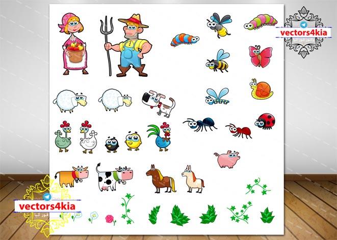 وکتور کاراکتر مزرعه دار و حیوانات مزرعه-با فرمت های Ai-EPS-PNG-PSD