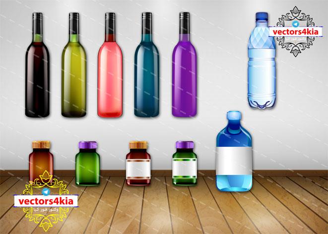 وکتور شیشه و بطری - با فرمت های Ai-EPS-PNG-PSD