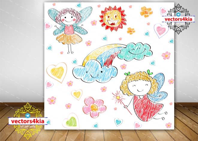 وکتور نقاشی کودکانه فرشته-با فرمت های Ai-EPS-PNG-PSD
