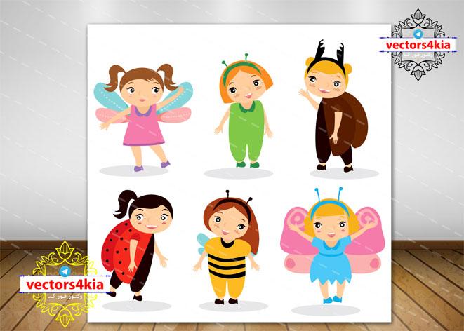 وکتور کودکان با لباس حشرات -با فرمت های Ai-EPS-PNG-PSD