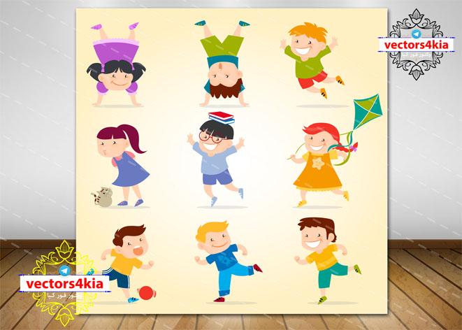 وکتور کودکان شاد(4)-با فرمت های Ai-EPS-PNG-PSD