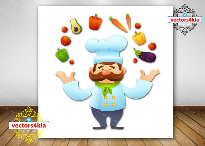 وکتور سرآشپز (2)-با فرمت های Ai-EPS-PSD-PNG