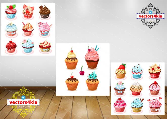 وکتور کاپ کیک و شیرینی - با فرمت های Ai-EPS-PSD-PNG
