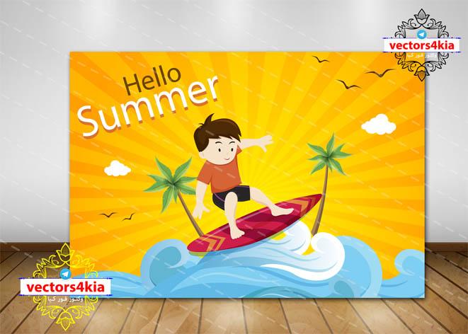 وکتور کودک و تابستان (1)-با فرمت هایAi-EPS-PNG-PSD