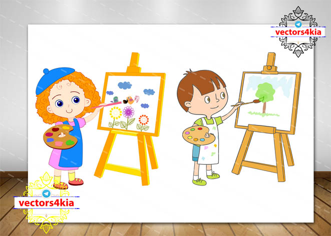 وکتور کودک نقاش (دختر و پسر)-با فرمت هایAi-EPS-PNG-PSD