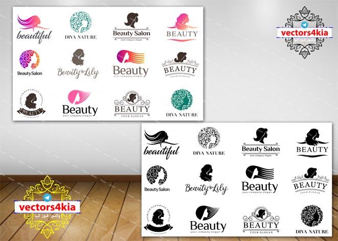 وکتور لوگوی آرایشگاه زنانه (2) - با فرمت های Ai-EPS-PNG-PSD