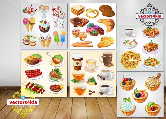 وکتور غذا-بستنی-نوشیدنی-کیک - با فرمت های Ai-EPS-PNG-PSD