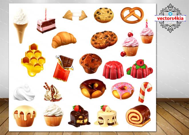 وکتور انواع شیرینی - با فرمت های EPS-PNG-PSD