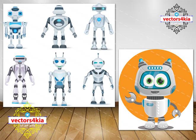 وکتور ربات های فضایی (5) -با فرمت های Ai-EPS-PNG-PSD