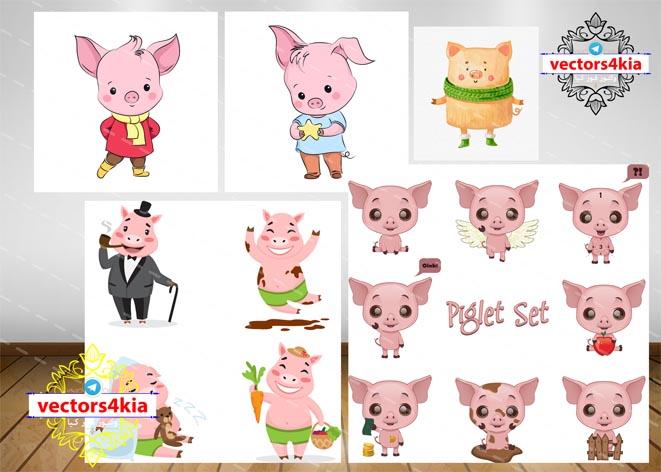 وکتور کارتونی خوک (نماد سال 2019)-با فرمت های Ai-EPS-PSD-PNG