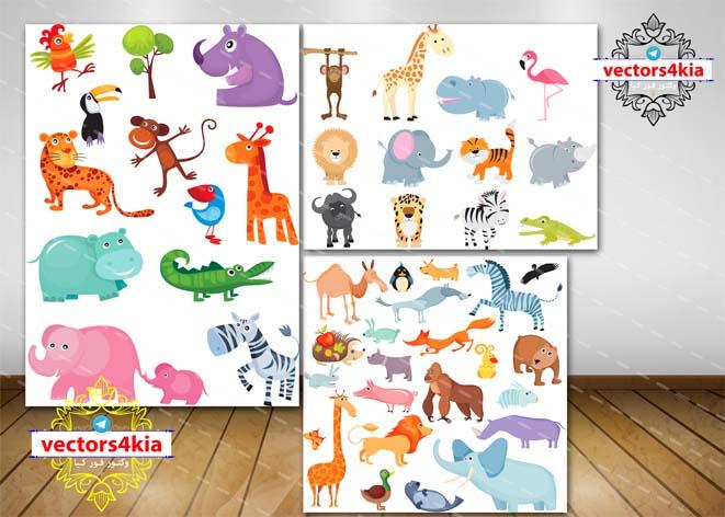 مجموعه وکتور حیوانات (4)-با فرمت های Ai-EPS-PSD-PNG