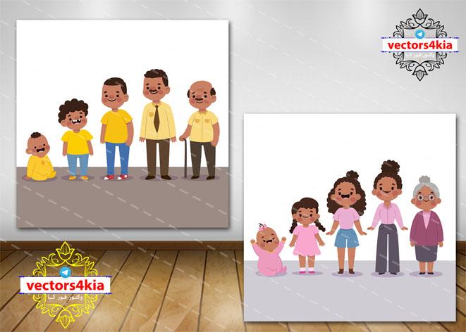 وکتور کودک در سنین مختلف - با فرمت های Ai-EPS-PSD-PNG