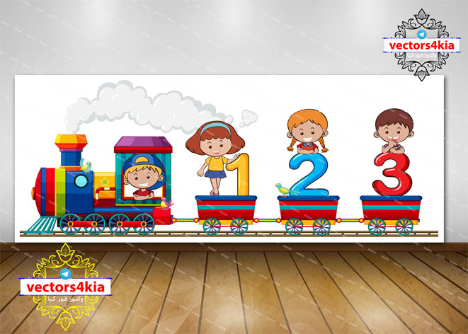وکتور کودک و قطار (2) - با فرمت های Ai-EPS-PSD-PNG