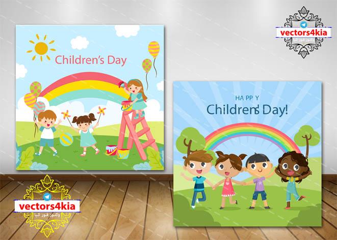وکتور کودک و رنگین کمان - با فرمت های Ai-EPS-PSD-PNG