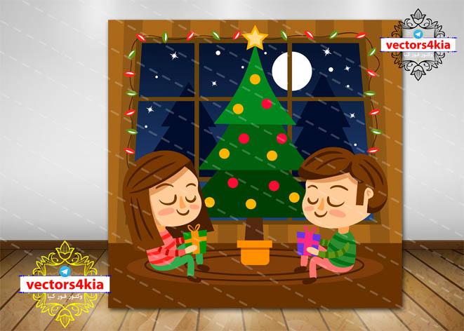 وکتور کودک و کریسمس - با فرمت های Ai-EPS-PSD-PNG