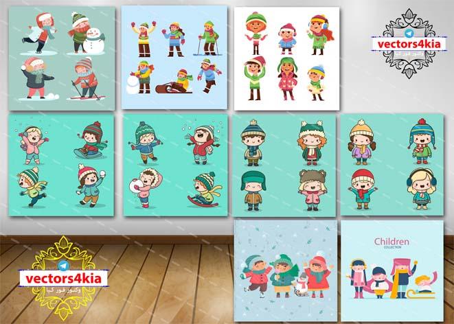 وکتور کودک و برف بازی (1) - با فرمت های Ai-EPS-PSD-PNG