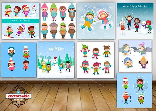 وکتور کودک و برف بازی (2) - با فرمت های Ai-EPS-PSD-PNG