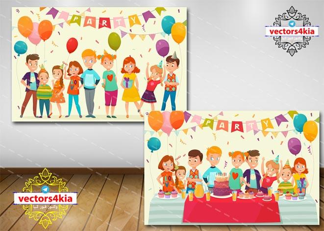 وکتور کودک و جشن تولد - با فرمت های Ai-EPS-PSD-PNG