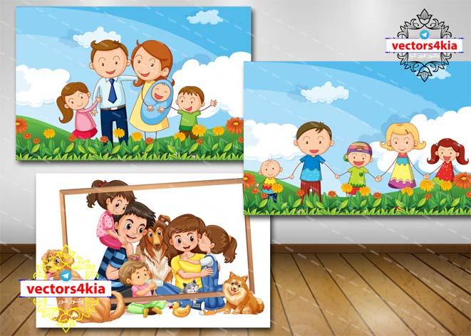 وکتور کودک و خانواده (3) - با فرمت های Ai-EPS-PSD-PNG