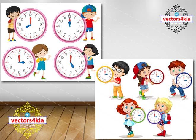 وکتور کودک و ساعت - با فرمت های Ai-EPS-PSD-PNG