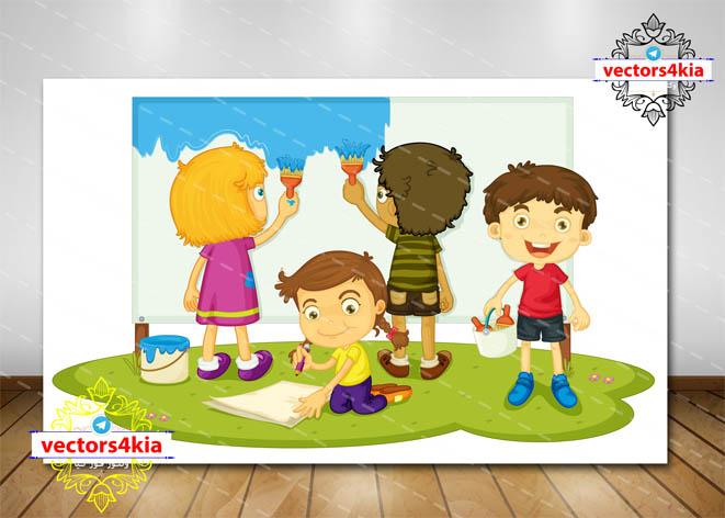 وکتور کودک و نقاشی (6) - با فرمت های Ai-EPS-PSD-PNG
