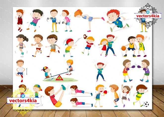 وکتور کودک و ورزش (3) - با فرمت های Ai-EPS-PSD-PNG