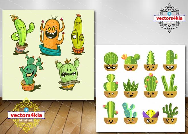 وکتور گلدان کاکتوس کارتونی - با فرمت های Ai-EPS-PSD-PNG