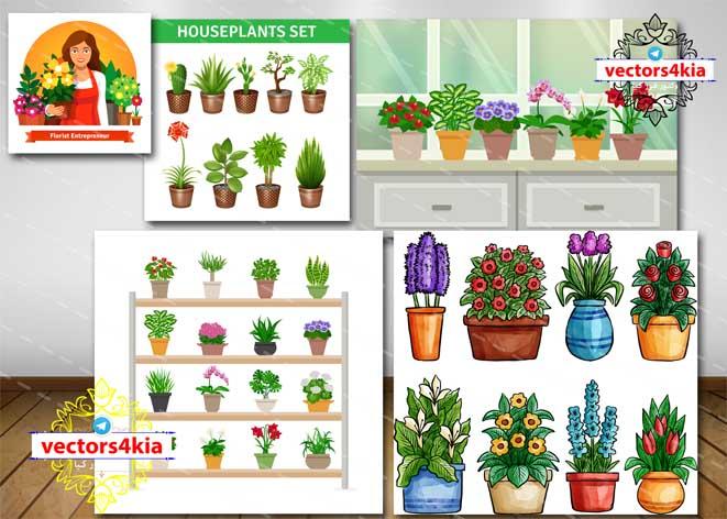 وکتور گلدان گل های خانگی - با فرمت های Ai-EPS-PSD-PNG