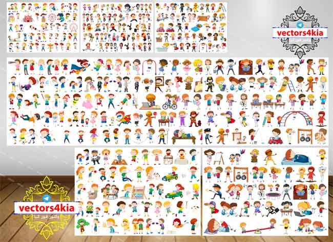 وکتور مجموعه کالکشن های کاراکتر کودک - با فرمت های - Ai-EPS-PNG-PSD