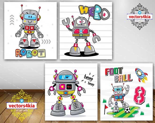 وکتور ربات های کارتونی و فانتزی (8) - با فرمت های - Ai-EPS-PNG-PSD