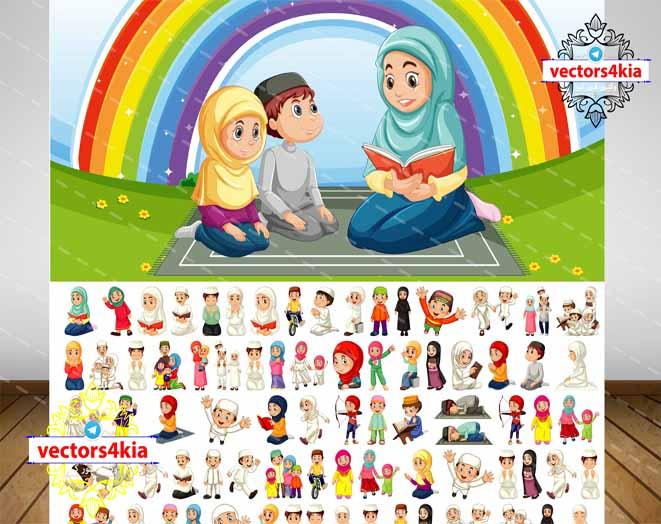 وکتور کاراکتر حجاب  و مسلمان - با فرمت های Ai-EPS-PSD-PNG