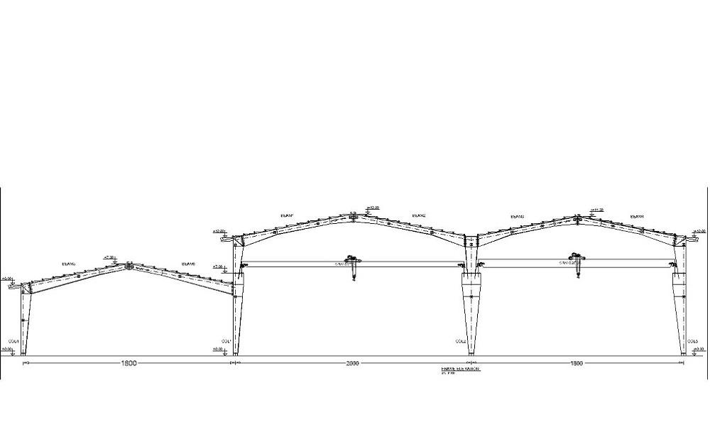 دانلود نقشه سوله سه دهانه به ارتفاع 10 متر و جرثقیل 20 تن
