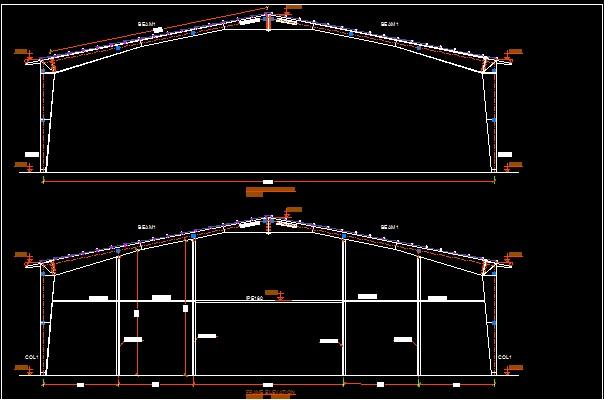 نقشه سوله با دهانه 30 متر ارتفاع 7.5 متر (سالن ورزشی) بهمراه نقشه معماری سالن ورزشی