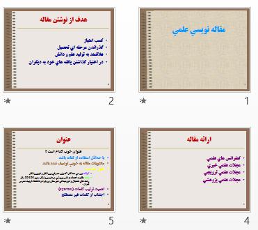 پاورپوینت و pdf مقاله نويسي علمي در 21 اسلاید