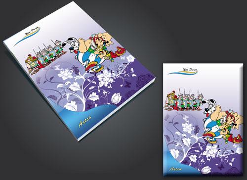 طرح لایه باز جلد دفتر آستریکس و ابلیکس asterix and obelix