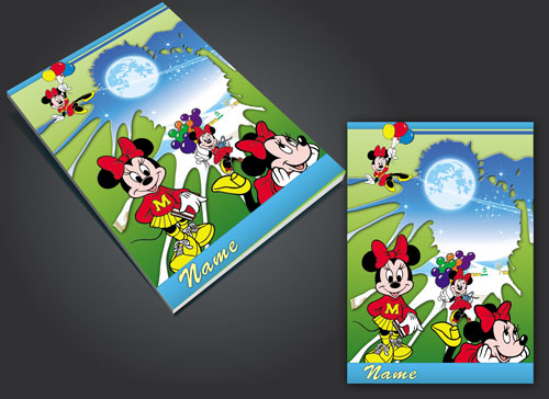 جلد دفتر لایه باز طرح مینی موس (minnie mouse) طراحی شده با فتوشاپ