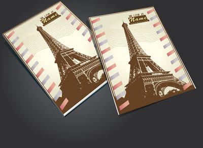 طرح جلد دفتر برج ایفل psd