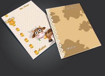 جلد دفتر لایه باز کودک (طرح رو جلد دفتر ) طرح گاو