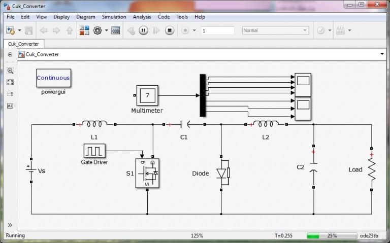 پروژه سیمولینک مبدل کاک Cuk converter با نرم افزار MATLAB
