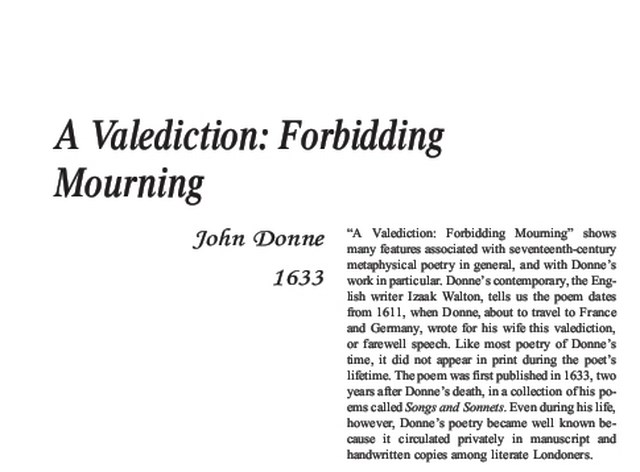 نقد شعر   A Valediction Forbidding Mourning by John Donne