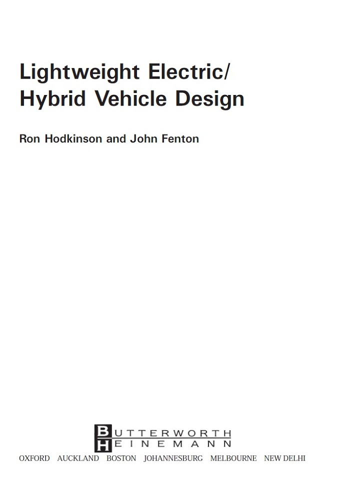 دانلود فايل PDF کتاب Lightweight Electric/Hybrid Vehicle Design-Ron Hodkinson and John Fenton OXFORD