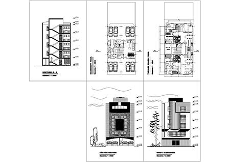 آپارتمان ابعاد بنا 10 در 18- 200 متر بنا -270 متر زمین ابعاد 10 در 26  2خوابه- 2 واحدی  دوخوابه - همکف پارکینگ و تیپ طبقات -2نما آجر-4طبقه روی همکف