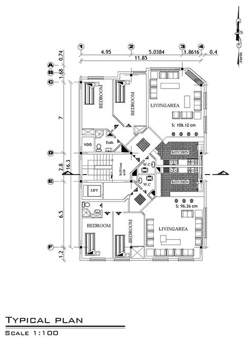 آپارتمان -ابعاد بنا 12 در 18- 220 متر بنا -300 متر زمین